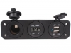 Three Hole Panel Car DC Digital Voltmeter ,Dual USB 2 Port ,DC12V Power Socket